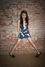 Blue-paris-blues-dress-black-bronx-shoes