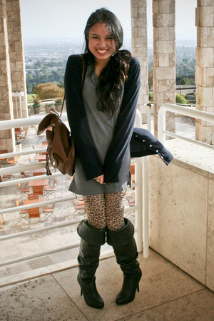 blue Forever 21 sweater - gray Forever 21 dress - brown Express tights - black D