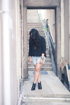 black nation h Jeffrey Campbell shoes - light blue denim boyfriend H&M shorts -