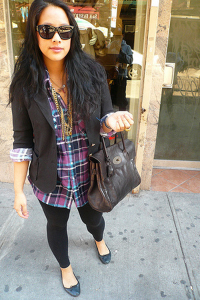 Chloe sunglasses - vintage shirt - Mulberry purse - Forever21 blazer