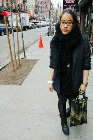 Yohji Yamamoto scarf - H&M blazer - aa dress - accessories