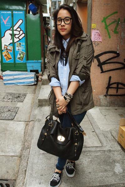 green Forever 21 jacket - blue Ralph Lauren shirt - black Miu Miu purse - blue T