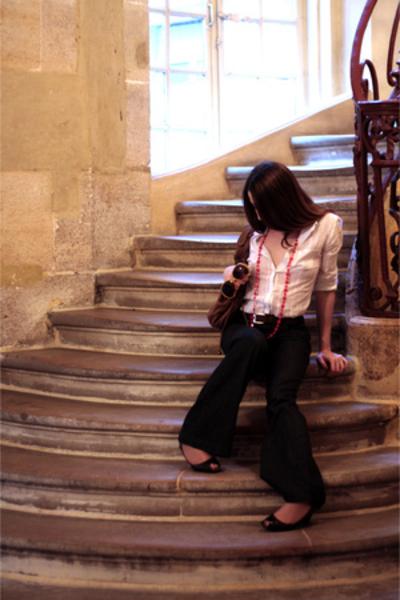 etam shirt - used jeans - gerard darel purse - etam necklace
