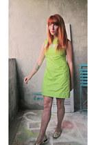 lime green vintage dress - metallic floral vintage loafers