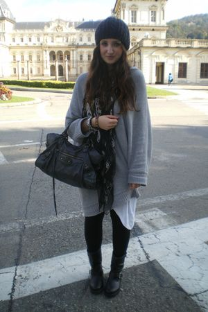 black balenciaga bag - black Alexander McQueen scarf - silver Zara jumper