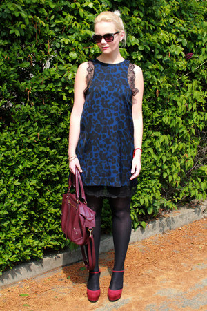 black H&M jacket - navy chicnova dress - crimson H&M bag