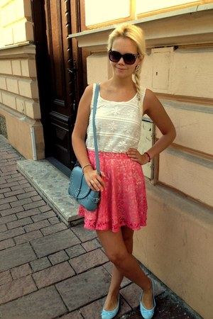 coral H&M skirt - light blue OASAP bag - dark brown Zara sunglasses