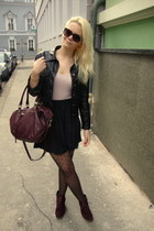 black vintage jacket - black Primark tights - maroon H&M bag