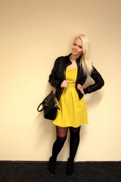 black H&M jacket - yellow Club L dress - black OASAP bag