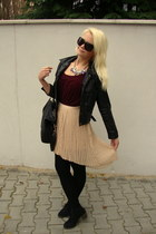 black random jacket - magenta H&M dress - black Mango bag