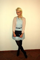 black H&M bag - light blue Glamorous dress - light pink Mango sweater