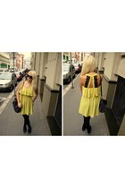 navy New Yorker bag - light yellow Forever 21 dress - black Gucci sunglasses