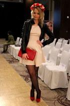 ruby red Mango bag - light pink Bershka dress - black H&M jacket