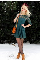 bronze fleqsk boots - dark green chicnova dress - bronze vintage bag