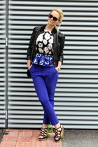 blue F&F pants - black H&M jacket - black New Yorker bag