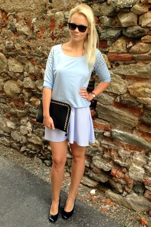 black Primark wedges - light blue H&M dress - black gift bag