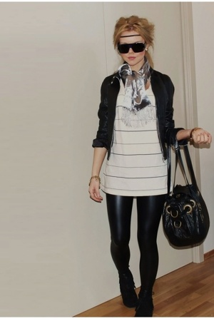 Cubus jacket - lindeberg scarf - acne t-shirt - christian dior purse - Marc by M