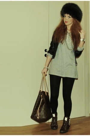 Cubus jacket - H&M sweater - H&M leggings - Louis Vuitton purse - Gucci shoes