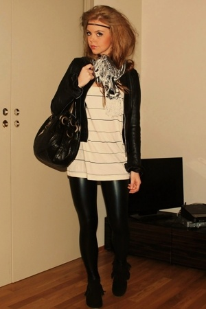Cubus jacket - acne t-shirt - Cubus leggings - Bianco shoes - lindeberg scarf -