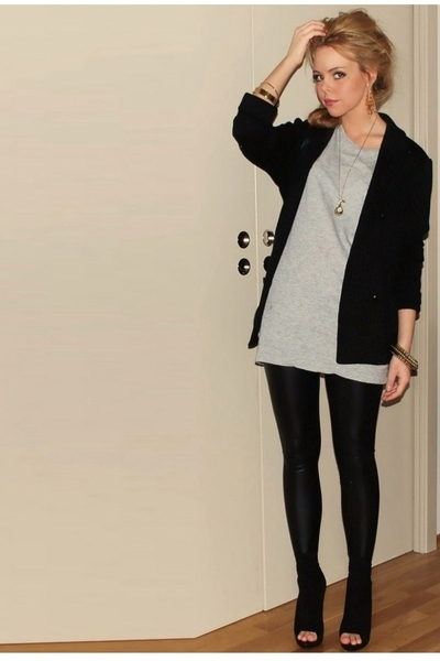 Filippa K blazer - H&M t-shirt - Cubus leggings - acne shorts - Marc by Marc Jac