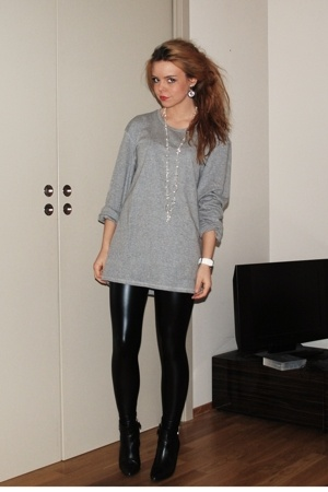 H&M sweater - Cubus leggings - calvin klein boots - christian dior purse