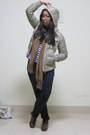 Ankle-boots-down-feathered-uniqlo-jacket-tassled-scarf-stripes-h-m-top