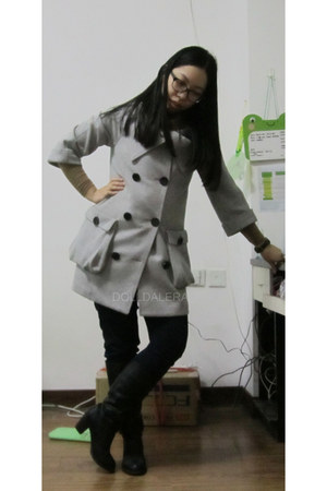 boots - Only coat - scarf - heattech uni intimate - striped H&M top