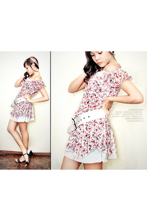 red Korean Fashion dress - white genevieve gozum belt - black Unlisted shoes