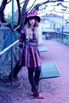 magenta asos dress - magenta asos hat - maroon méliné heels