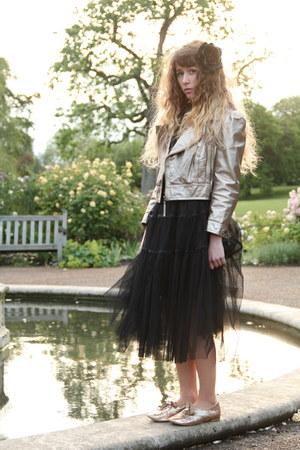 gold Only One jacket - black Molly Bracken dress - black H&M accessories