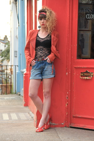 red Only jacket - blue Zara shorts - black Primark bodysuit