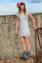 blue Dr Martens boots - white Molly Bracken dress