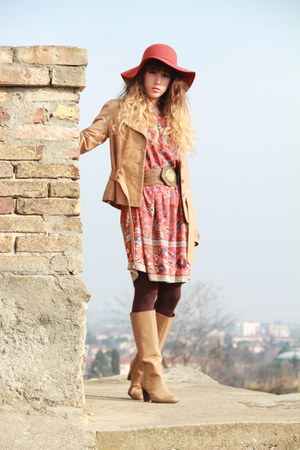 tan pieces boots - tawny Pepe Jeans dress - tawny Urban Outfitters dress
