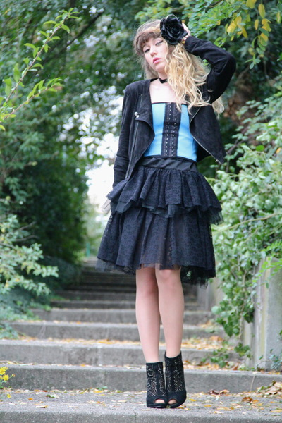 black Only dress - black Vero Moda jacket - sky blue Vedette top