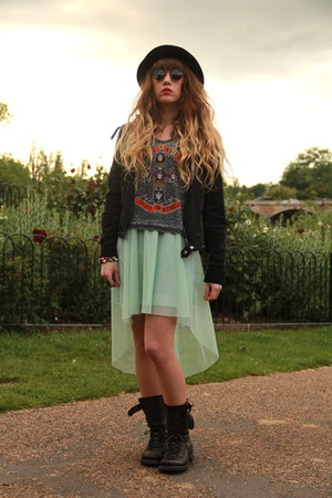 black jack & jones hat - dark gray All Saints boots - aquamarine Bershka dress