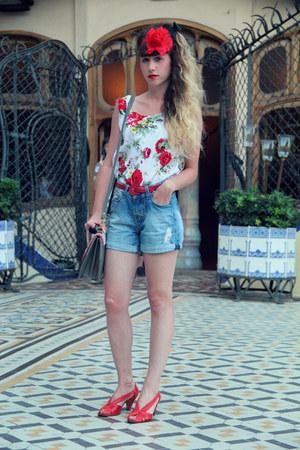 Compania Fantastica bag - Zara shorts - QSP heels - vintage belt - pinkbells top