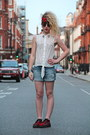 Blue-zara-shorts-black-topshop-sunglasses-red-new-look-flats-white-diy-top