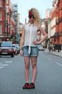 Blue-zara-shorts-black-topshop-sunglasses-red-new-look-flats-white-diy-top