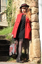 black Molly Bracken dress - black vintage hat - red maison scotch jacket