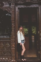 black fallen broken street hat - light blue free people shorts