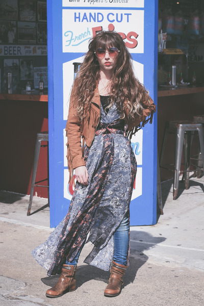 Missguided jacket - tawny Air Step boots - blue free people dress