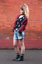 black DIY top - black vintage boots - red Only blazer - blue Zara shorts