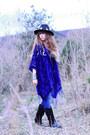 Black-vintage-boots-navy-salsa-jeans-black-doll-poupée-hat