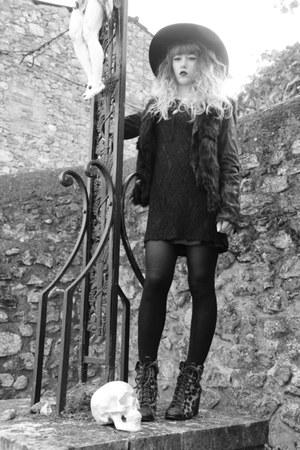 black Primark dress - black Monki hat - black Only jacket