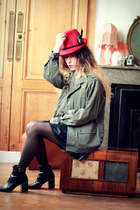 red asos hat - olive green Doll Poupée jacket - black asos skirt