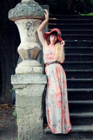 burnt orange Urban Outfitters hat - silver Vila dress - dark brown asos heels