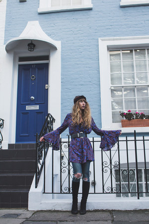 black vintage boots - deep purple free people dress - navy Topshop jeans