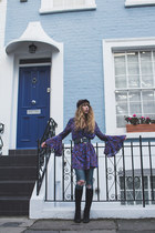 black vintage boots - deep purple free people dress - navy Topshop jeans