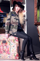 olive green Doll Poupée jacket - black Robert Clergerie boots - black H&M hat