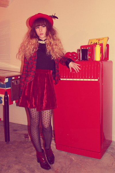 red asos hat - red Only jacket - black pieces tights - ruby red chicnova skirt